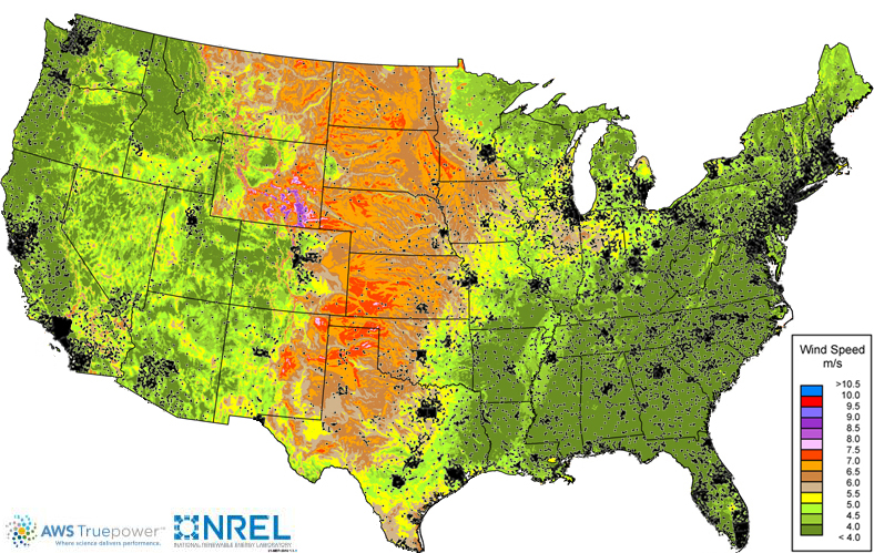 NREL Wind Speed Chart at 30m with Population Overlay