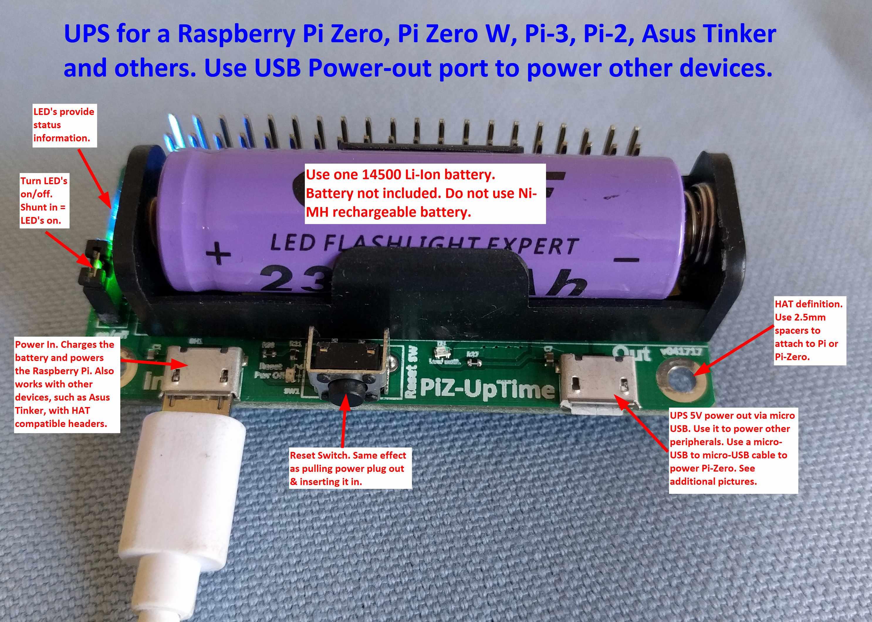 PiZ-UpTime - UPS and power mobility for Pi Zero - Alchemy